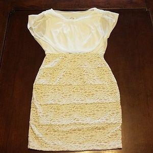 White chiffon and lace bodycon dress